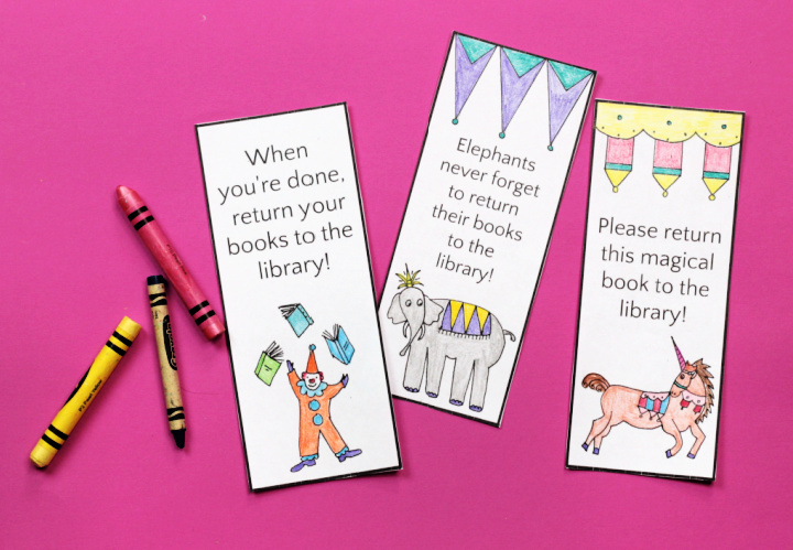 finished circus bookmarks with crayons