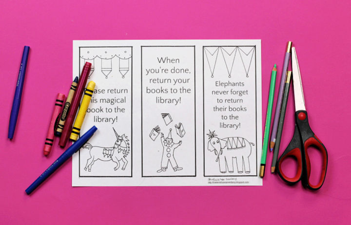 plain library bookmarks with crayons and scissors