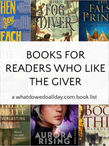 Collage of books like The Giver