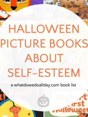 book collage of Halloween children's books