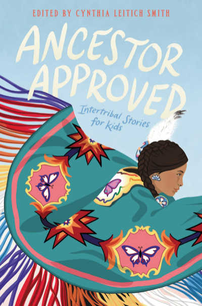 Ancestor Approved book cover showing Native American spreading arms in colorful shawl