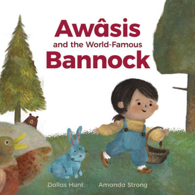 Awâsis and the World-Famous Bannock book cover showing Cree girl with basket and woodland animals