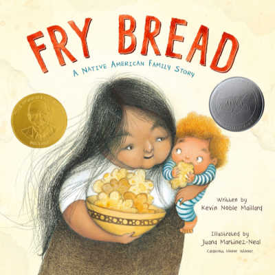 Fry Bread book cover showing Native American woman holding child and bowl of fry bread