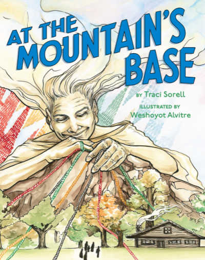 At the Mountain's Base book cover showing mountain with folkloric woman leaning over it.