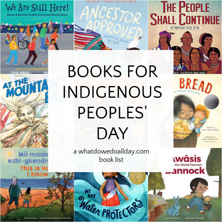 Collage of children's books for Indigenous Peoples' Day