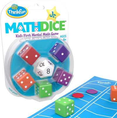 Math dice in package with blue board and game tokens