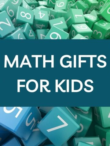 Jumble of colorful dice and overlay math gifts for kids