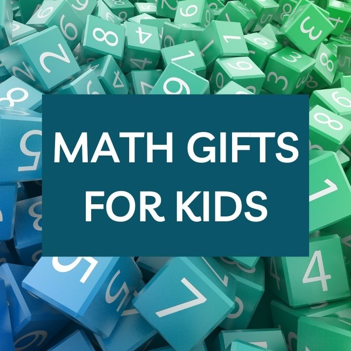 Jumble of colorful dice and text overlay math gifts for kids.