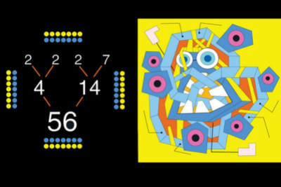 Interior page spread of book with numbers, dots and abstract geometric monster